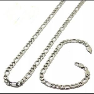 "Other - 24""stainless steel Figaro chain bracelet set"